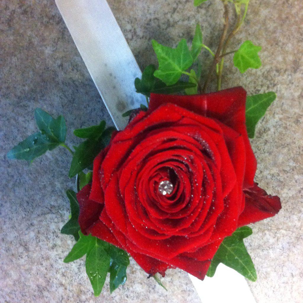 Corsage med röd ros